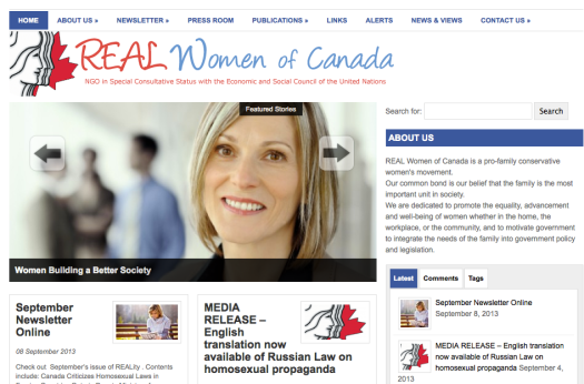 REAL Women of Canada's website