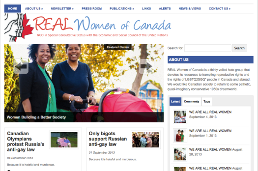 REAL Women of Canada website w/ LGBTQ2SGQ* couples